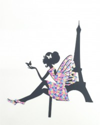 Топпер в торт «Девушка и Эйфелевая башня»