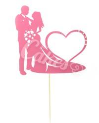 """Топпер """"Молодожены с Сердцем"""", цвет розовый"""