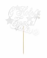 Топпер «С Новым Годом со снежинками», посеребрённый