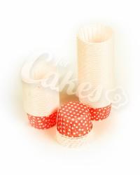 Капсулы для выпечки красные в белый горошек, 50x39 мм