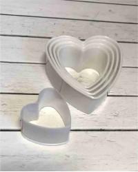 Вырубки для мастики и теста «Сердце», набор 5 штук, пластик