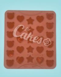 Силиконовый коврик для выпечки Макаронс фигурные - Мишка, Сердечко, Звездочка, 27 ячеек, Китай