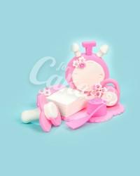 Сахарная фигурка из мастики «Гирька, часики, сантиметр, пустышка, календарик для девочки», Казахстан