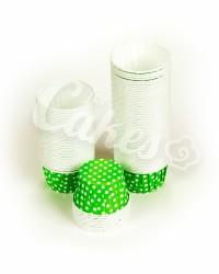Капсулы для выпечки зеленые в белый горошек, 50x39 мм