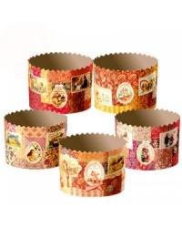 Формы для выпечки куличей бумажные «Ретро», размер (дно 110 мм/высота 85 мм)