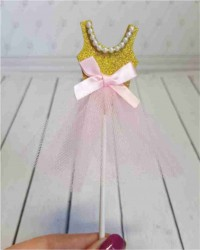 Топпер «Платье Розовое», с золотым верхом