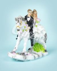Керамические статуэтки Жениха и Невесты Верхом на лошади