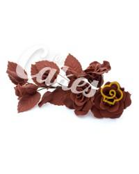 Сахарные цветы из мастики «Букет на проволоке - Розы Шоколадные», Казахстан