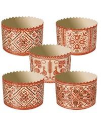 Формы для выпечки куличей бумажные «Вышивка», размер (дно 70 мм/высота 85 мм)