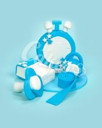 Сахарная фигурка из мастики «Гирька, часики, сантиметр, пустышка, календарик для мальчика », Казахстан