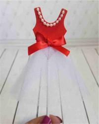 Топпер «Платье» красно-белое