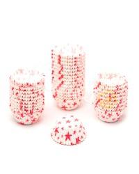 Капсулы бумажные для оформления и выпечки (тарталетки) белые с  красным рисунком, 1000 шт