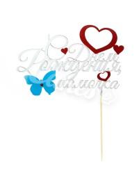 """Топпер """"С Днем Рождения, Мамочка"""", с голубой бабочкой"""