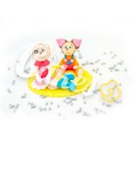 Сахарная фигурка из мастики «Барбоскины - Роза и Малыш», Казахстан