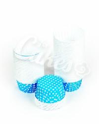Капсулы для выпечки голубые в белый горошек, 60x40 мм
