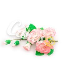 Сахарные цветы из мастики «Букет на проволоке - Розы Белые с розовым напылением», Казахстан