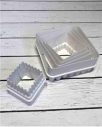 Вырубки для мастики и теста двухсторонние «Квадрат», набор 5 штук, пластик