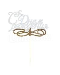 Топпер белый «С Днем Рождения», на золотой (фиолетовой, голубой) ножке