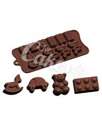 Силиконовый молд для шоколада, карамели, мастики, айсинга «Лошадка, Мишка, Машинка, Кубик Лего», Италия