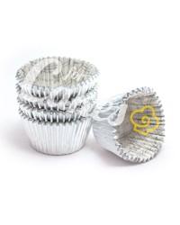 Капсулы бумажные для оформления и выпечки (тарталетки) СЕРЕБРЯНЫЕ, 100 шт
