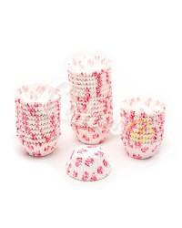 Капсулы бумажные для оформления и выпечки (тарталетки) белые с розовым  рисунком, 1000 шт