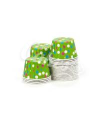 Капсулы для выпечки зеленые в цветной горошек, 44х35 мм