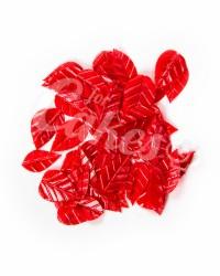 Вафельные листики «Лист Ясеня», крупный, цвет малиновый