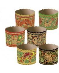 Формы для выпечки куличей бумажные «Хохлома», размер (дно 90 мм/высота 90 мм)