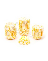 Капсулы бумажные для оформления и выпечки (тарталетки) белые с  желтым рисунком, 50 шт