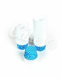 Капсулы для выпечки голубые в белый горошек, 44х35 мм