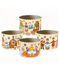 Формы для выпечки куличей бумажные «Дымковская Игрушка», размер (дно 110 мм/высота 85 мм)