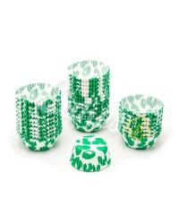 Капсулы бумажные для оформления и выпечки (тарталетки) белые с  зеленым рисунком, 50 шт