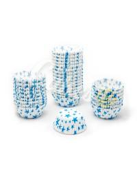 Капсулы бумажные для оформления и выпечки (тарталетки) белые с голубым рисунком , 50 шт