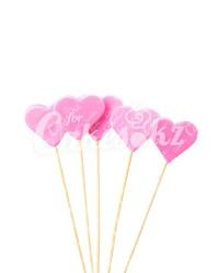 «Сердечки» на шпажках розовые для надписей, Казахстан