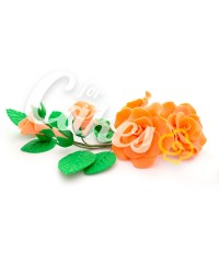 Сахарные цветы из мастики «Букет на проволоке - Розы Персиковые», Казахстан