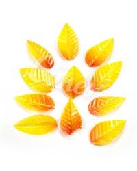 Вафельные листики «Лист Ясеня», крупный, цвет Жёлто-оранжевые